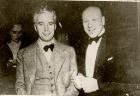 Charles Chaplin & Sergei Ermollaeff Paramount Ballroom, Shanghai, China with Paulette Godard and her mother behind 1936