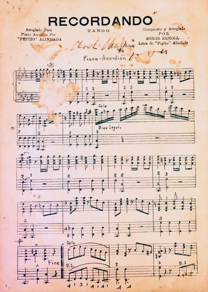 'Recordando' Tango arranged for 'Pepipito' #milongo by Sergei Сергей Ермолаев 1936 for piano accordian performed at Paramount Ballroom 上海百樂門 1935-1937