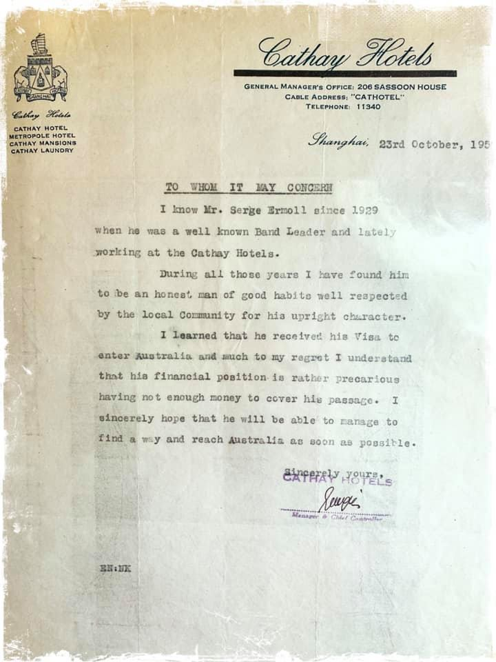 Serge Ermoll Сергей Ермолаев and His Orchestra, letter of reference from the manager of the Cathay Hotel, Shanghai, China,1950.
