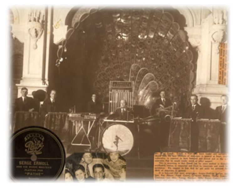 Serge Ermoll Сергей Ермолаев and His Orchestra, the Astor House 礼查饭店 Hotel Ballroom/ Bandstand with peacock fan half shell and Pathe label collage – Peacock Hall the cities first ballroom, Shanghai, China,1930